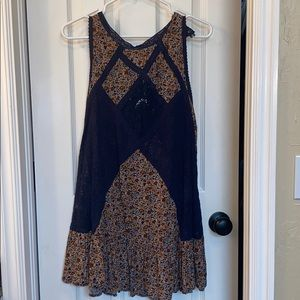 Navy Floral & Lace Tank Cover (L)